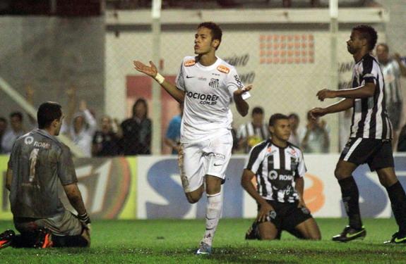 Santos star Neymar celebrates after scoring one of his four goals against União Barbarense