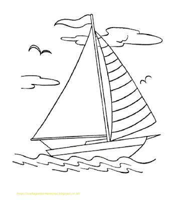 Mewarnai Gambar Kapal Laut - 16