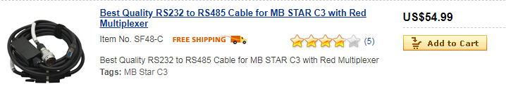 Best Quality RS232 to RS485 Cable for MB STAR C3 with Red Multiplexer