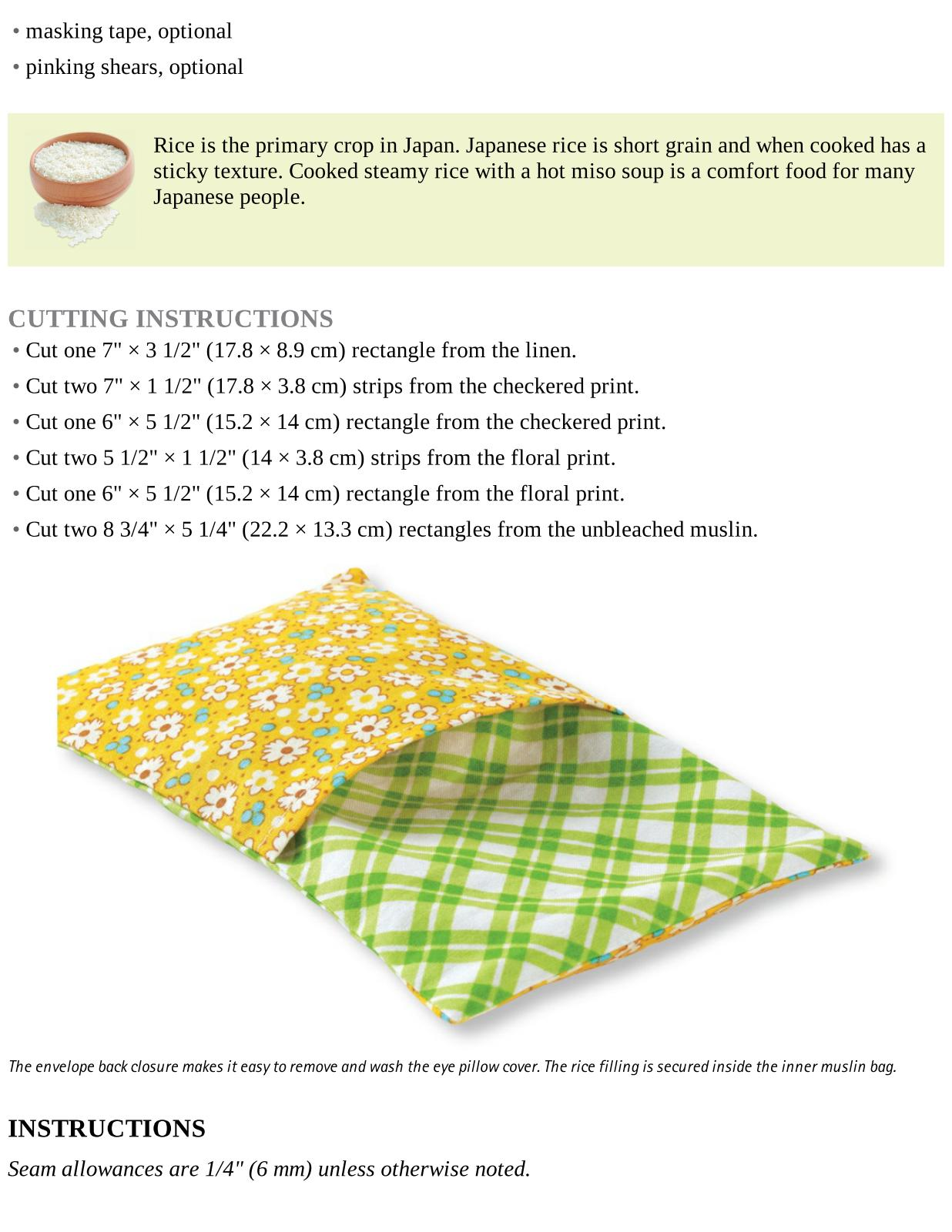 Rice Therapy Eye Pillow