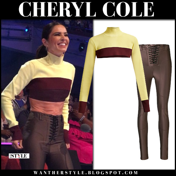Cheryl Cole in yellow cropped sweater and brown lace up pants unravel style august 2018