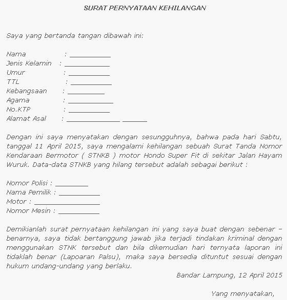 Contoh Surat Pernyataan