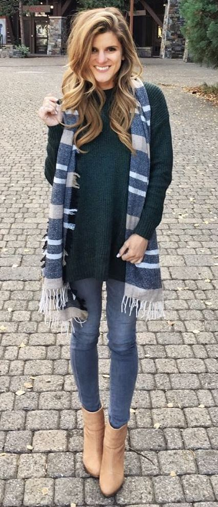 incredible fall outfit idea / scarf + sweater + skinny jeans + boots