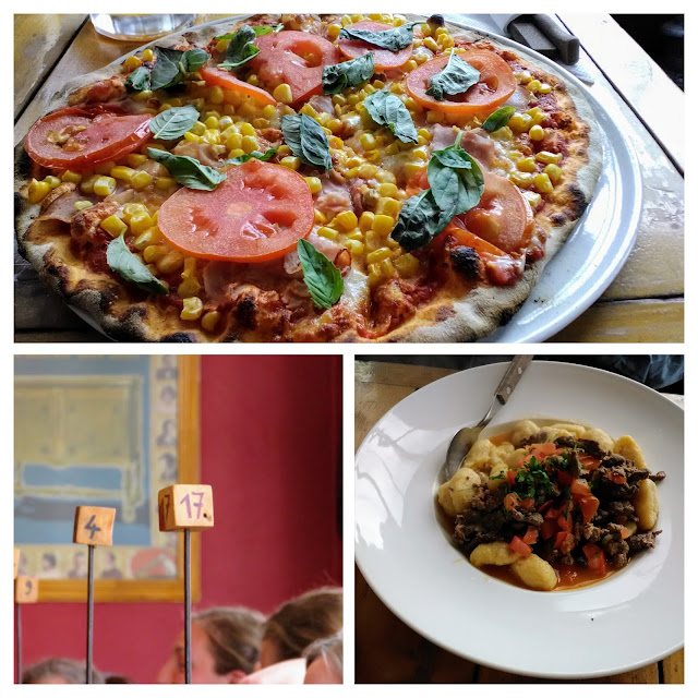 Collage of pizza and pasta dishes at Mesita Grande restaurant in Puerto Natales Chile