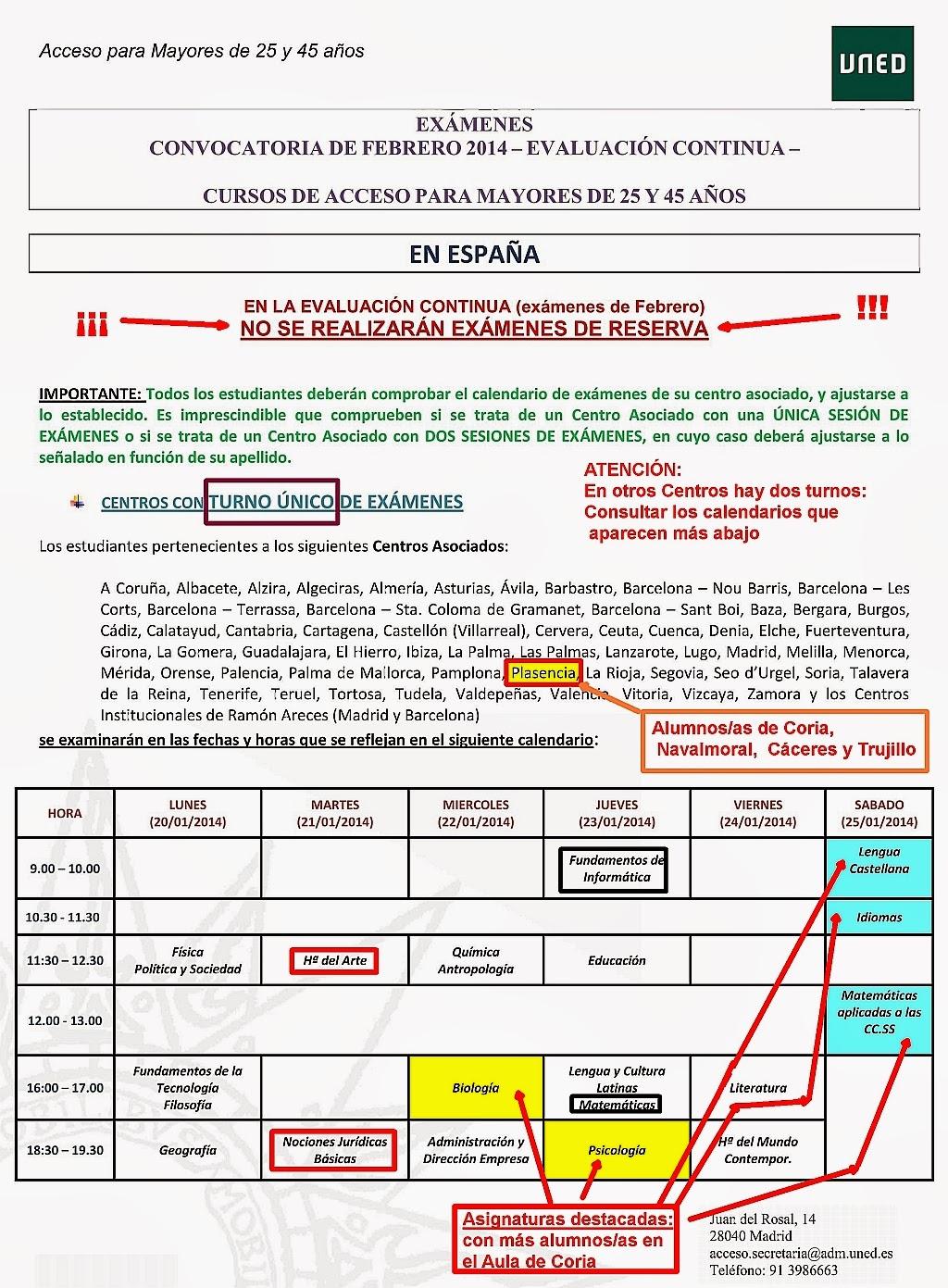 Uned Calendario Examenes.Uned Aula De Coria Caceres Examenes De Febrero De Los