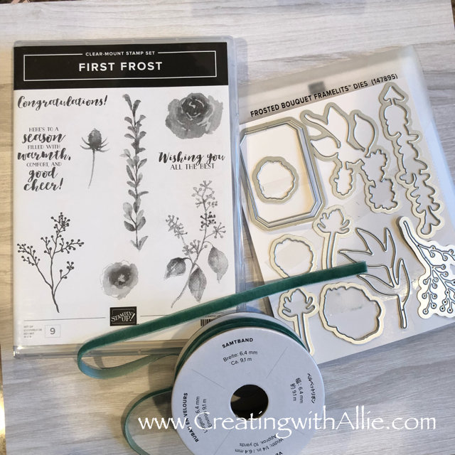First Frost stamp set and Frosted Bouquet framelits