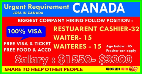 Urgent Vacancy In Canada Apply Now Worldswin Jobs Apply And Travel Destinations