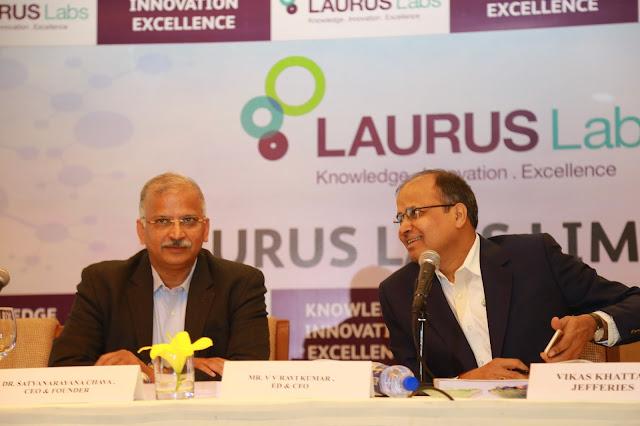 Dr.Satyanarayana Chava, CEO and Mr. V.V.RaviKumar ED & CFO of Laurus Labs at the Press Conference