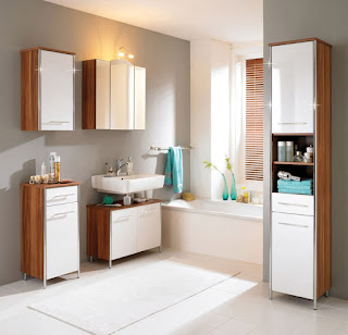 captivating small bathroom design and rectangle rug plus two tones cabinets feats floating sink