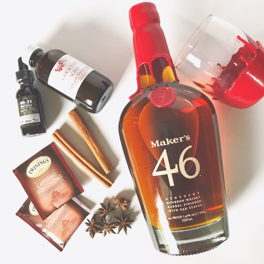 Maker's 46 and all the ingredients needed for a great Old Fashioned