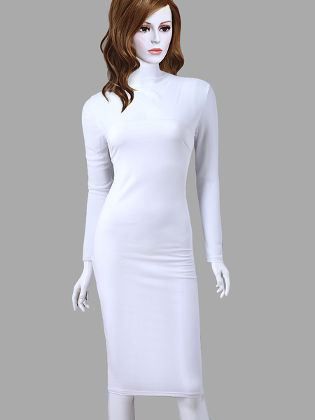 White Sexy See-through Long Sleeves Bodycon Party Dress