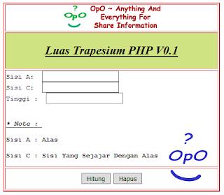 OpO - Menghitung Luas Trapesium Dengan Menggunakan PHP Dan HTML