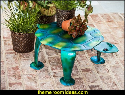 Sea Turtle Handmade Metal Patio Side Table