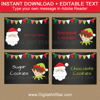 Christmas chalkboard labels and tent cards for your Christmas party