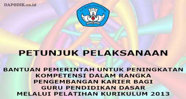 Petunjuk pelaksanaan (Juklak) Pemerintah Untuk Peningkatan Kompetensi Dalam Rangka Pengembangan Karier Bagi  Guru Pendidikan Dasar Melalui Pelatihan Kurikulum 2013