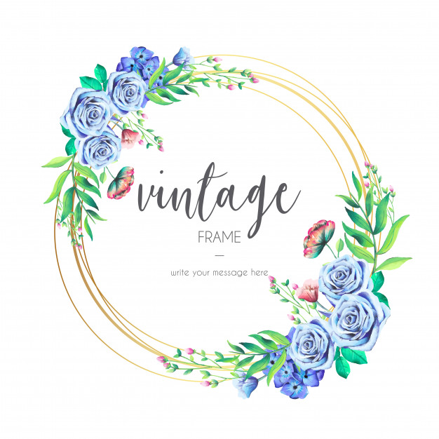 Vintage Frame with Blue Flowers free