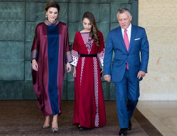 Queen Rania wore Layeur (The Modist) Silk Seraphima Dress. King Abdullah, Queen Rania, Crown Prince Hussein and Princess Salma at Independence Day