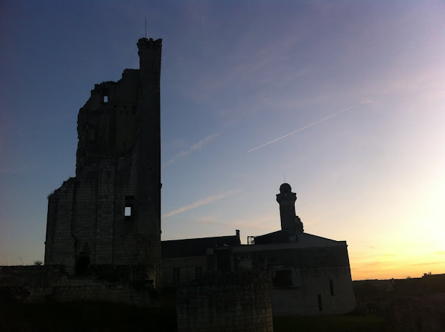 sun setting behind chateau at Le Grand-Pressigny in the Loire Valley