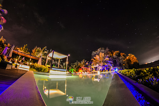 Zen Pool at night with starry sky