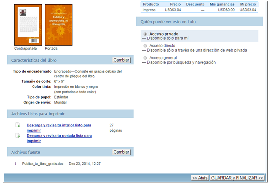 Revisión del proyecto de publicación del libro en Lulu
