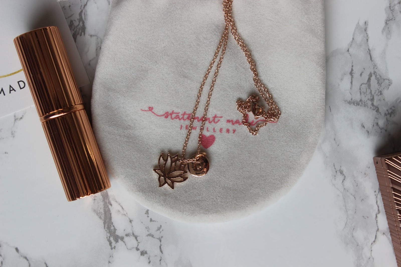 Statement Made Jewellery 'C' Rose Gold Necklace
