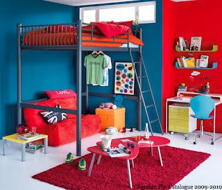 cuarto para niño rojo azul