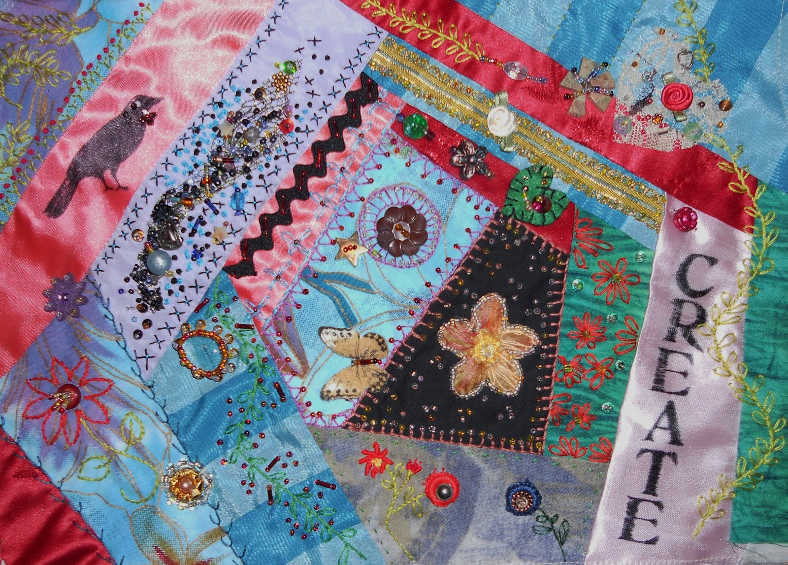 Judys Fiber Art Crazy Quilt Block