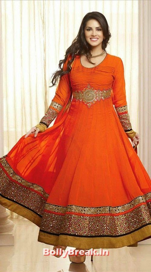 Sunny Leone in orange Anarkali salwaar kameez, Sunny Leone Anarkali Churidar Pics, Sunny Leone in Indian Clothes