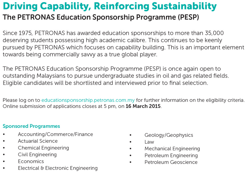Petronas scholarship 2018 application form online