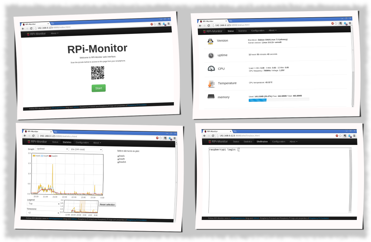 RPi-Experiences: RPi-Monitor: Raspberry Pi self monitoring