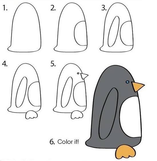 Cara Mudah Menggambar Penguin Untuk Anak-Anak  1
