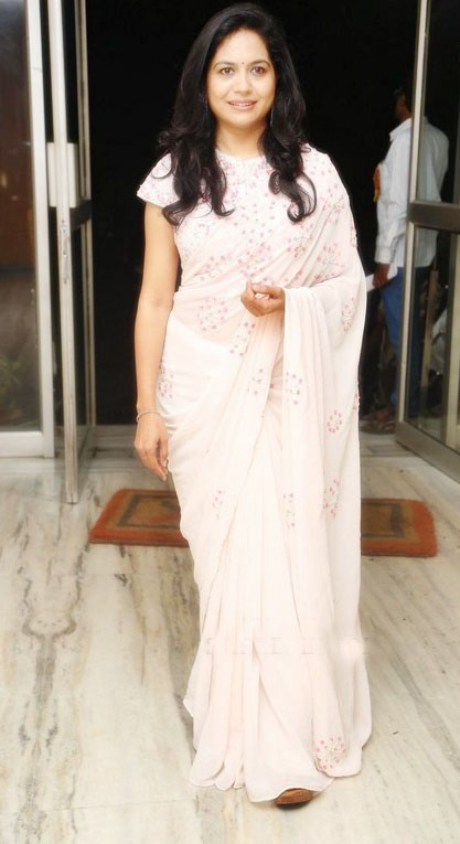 Singer Sunitha White Designer Saree at Raagam Short Film Launch