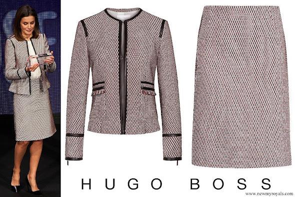 Queen Letizia wore Hugo Boss Keili Jacket and Meili Skirt