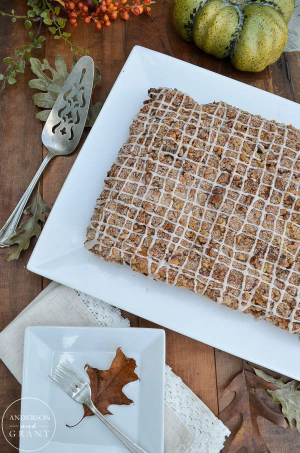 Spiced Pumpkin Coffee Cake on white tray