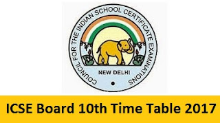 ICSE 10th Time Table