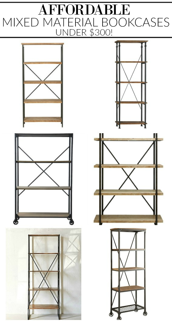 affordable mixed material industrial farmhouse bookcases - Affordable Bookshelves
