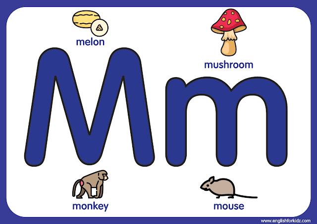 Letter m - big printable alphabet letters for kids learning English