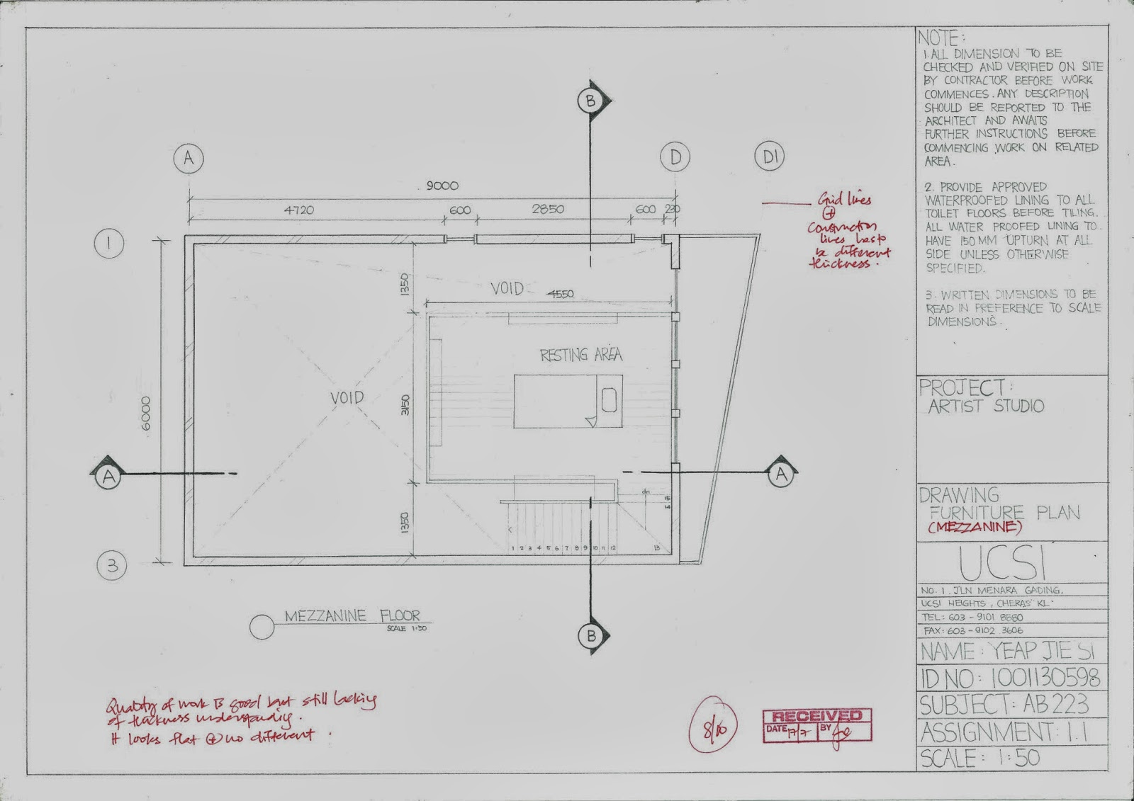 Master Piece Assignment 1 1 Orthographic Projection Mf Plan