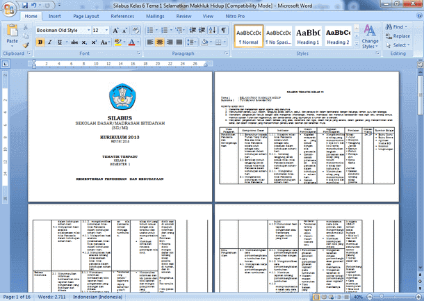 Silabus Kelas 6 SD MI Kurikulum 2013 Tematik Terpadu Revisi Tahun 2018