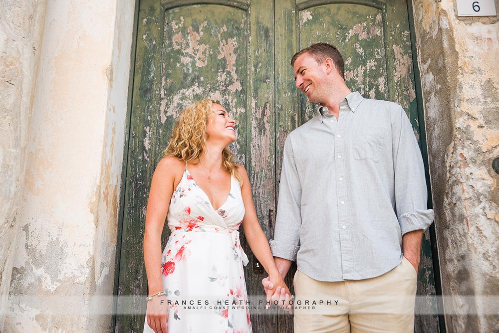 Engagement portrait in Ravello with old door