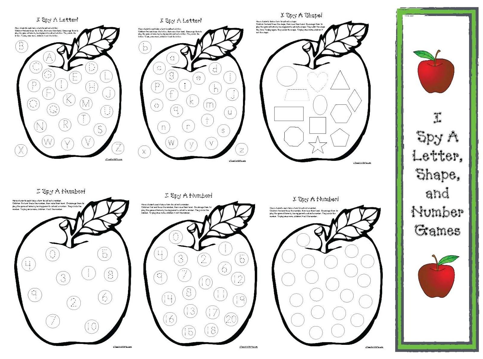 Apple Themed I Spy Game Sheets