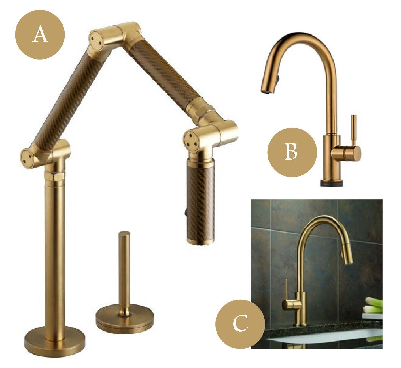 kitchen of week brass is back brass kitchen faucet Here are a few brassy faucets I would love to incorporate in a sleek modern kitchen