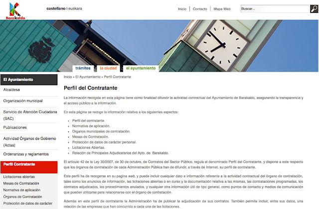 Web de contrataciones del Ayuntamiento de Barakaldo