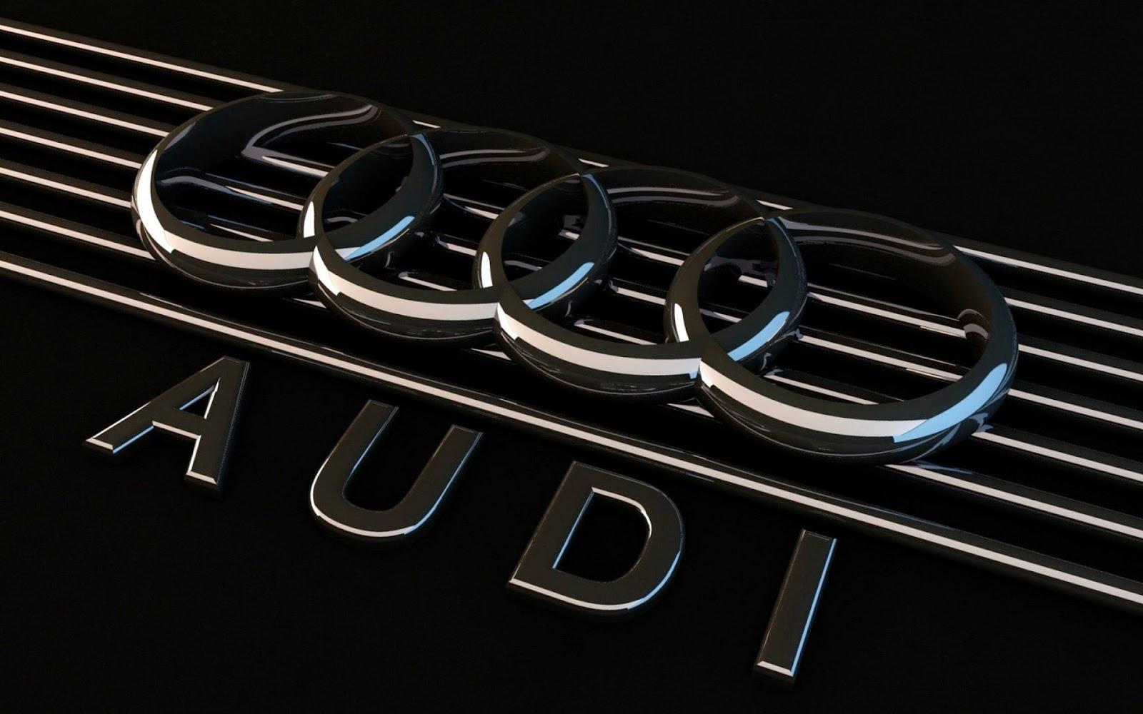 Zwarte Audi wallpaper in 3D met naam Audi en logo
