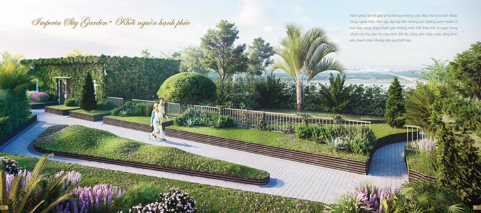 Khu dạo bộ tại dự án chung cư Imperia Sky Garden