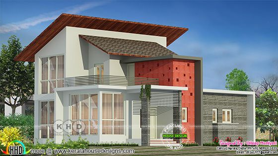 2090 sq-ft 4 bedroom modern contemporary house