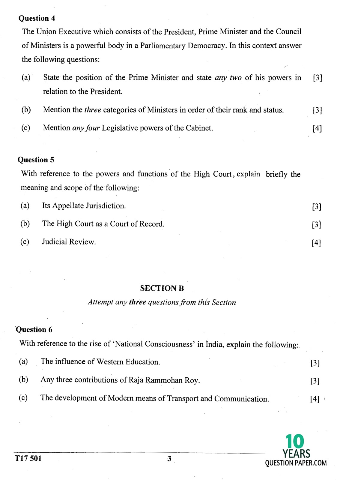 icse 2017 class 10th History & civics H.C.G Paper 1 question paper