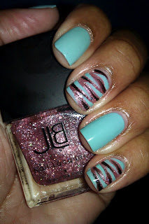 For Audrey, Tiffany, blue, zebra print, tiger print, accent nail, nail art, mani