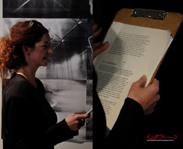 Angela Stretch reading Cunctations in II Parts. Photo by Kent Johnson for Street Fashion Sydney.