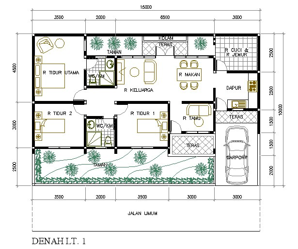 gambar denah rumah minimalis 5 kamar tidur 1